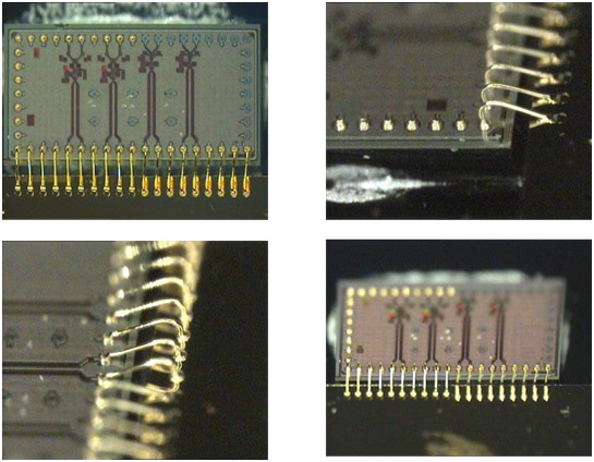 Figure 2Wire bonding tests have already been performed by Argotech on IMEC EICs. Ball-wedge and ball-stitch-on-ball methods.